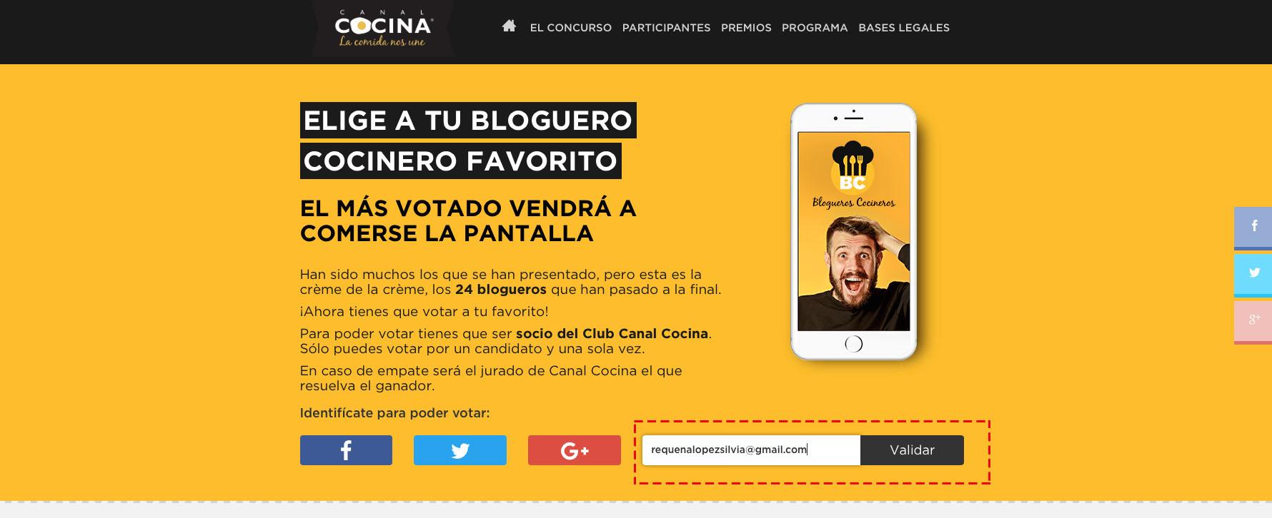 Somos finalistas en blogueros cocineros de canal cocina for Cocineros de canal cocina